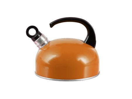 tetsubin: Orange kettle isolated on a white background Stock Photo