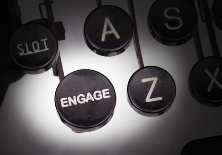 Typewriter with special buttons, engage