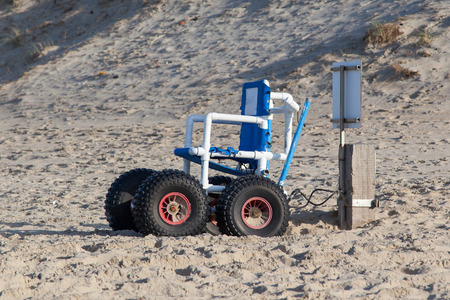 Wheelchair designed specifically for use on the Sea Beach, the Netherlands