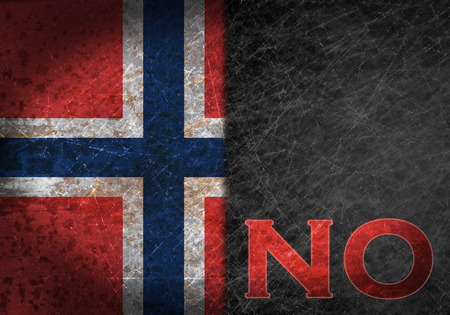 Old rusty metal sign with a flag and country abbreviation - Norway photo