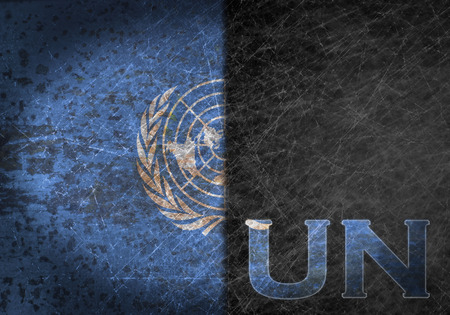 abbreviation: Old rusty metal sign with a flag and country abbreviation - United Nations Stock Photo