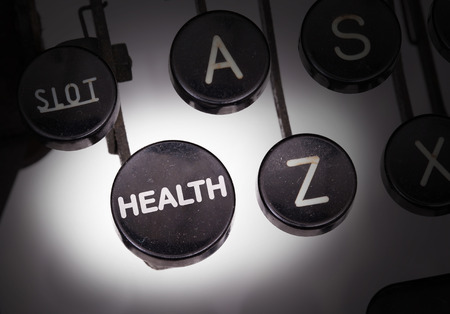 typebar: Typewriter with special buttons, health Stock Photo