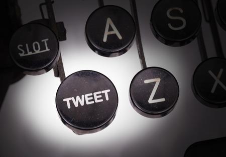 tweet: Typewriter with special buttons, tweet