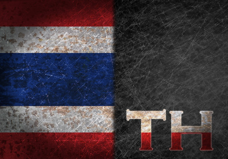 abbreviation: Old rusty metal sign with a flag and country abbreviation - Thailand Stock Photo