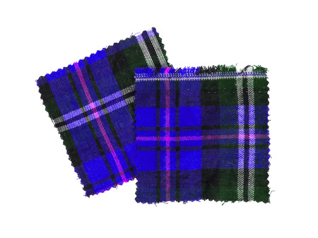 checked fabric: Small piece of the bright scottish checked fabric, blue