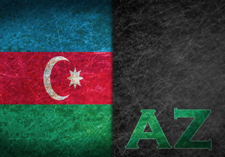 Old rusty metal sign with a flag and country abbreviation - Azerbaijan photo