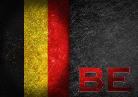 abbreviation: Old rusty metal sign with a flag and country abbreviation - Belgium
