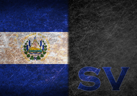 abbreviation: Old rusty metal sign with a flag and country abbreviation - El Salvador