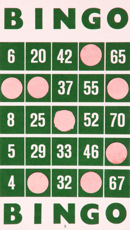 Green bingo card being used (white chips)