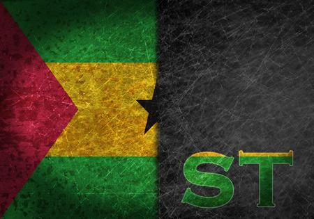 tomo: Vecchio segno di metallo arrugginito con una bandiera e paese sigla - Sao Tome e Principe Archivio Fotografico
