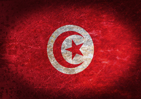 tn: Old rusty metal sign with a flag- Tunisia