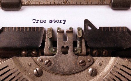 Vintage inscription made by old typewriter, true story Archivio Fotografico