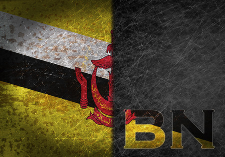 bn: Old rusty metal sign with a flag and country abbreviation - Brunei