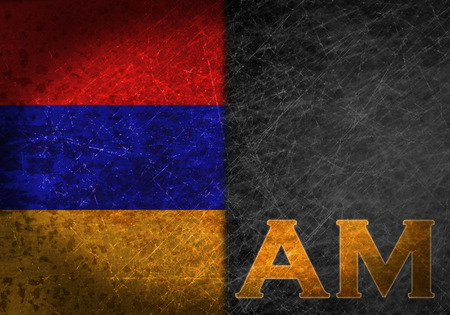 abbreviation: Old rusty metal sign with a flag and country abbreviation - Armenia