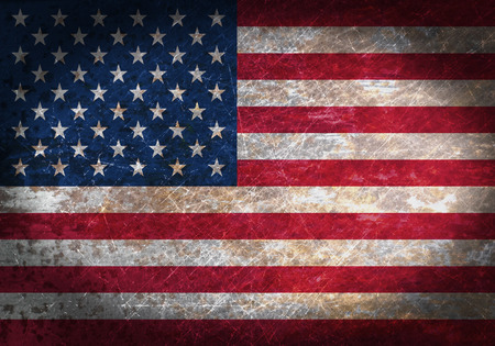black flag: Old rusty metal sign with a flag - United States of America