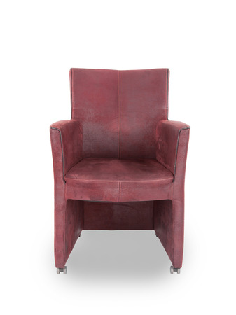 Red leather dining room chair isolated on white photo