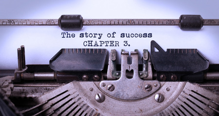 Vintage inscription made by old typewriter, the story of success, chapter 3 photo