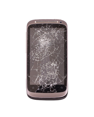 broken screen: Smartphone with a broken screen, isolated on white