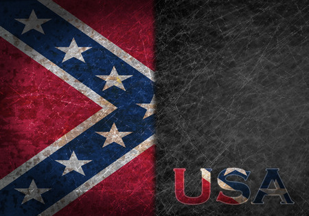abbreviation: Old rusty metal sign with a flag and country abbreviation - Confederate flag