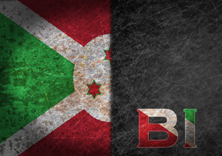 abbreviation: Old rusty metal sign with a flag and country abbreviation - Burundi