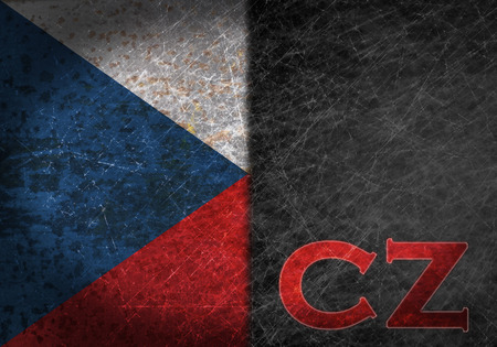 abbreviation: Old rusty metal sign with a flag and country abbreviation - Czech Republic Stock Photo