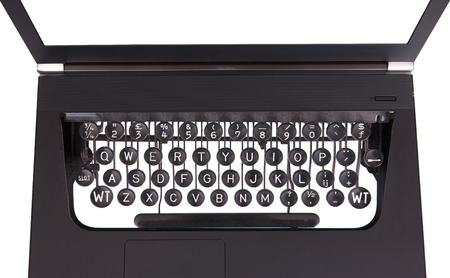 Laptop with old fashioned typewriter keys, isolated on white Stock Photo