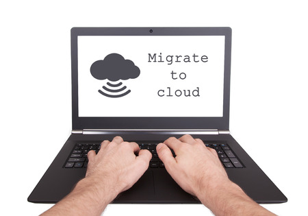 migrate: Man working on laptop, migrate to cloud, isolated