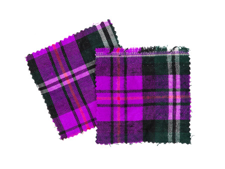 checked fabric: Small piece of the bright scottish checked fabric, purple