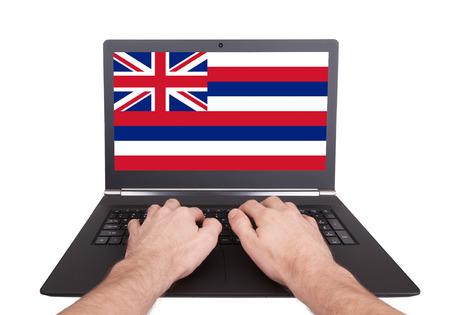 Hands working on laptop showing on the screen the flag of Hawaii photo