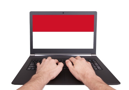 Hands working on laptop showing on the screen the flag of Monaco photo