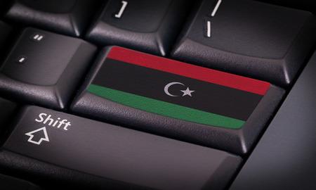 libyan: Flag on button keyboard, flag of Libya