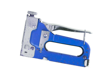 staple gun: Construction hand-held stapler, isolated on white background, blue Stock Photo