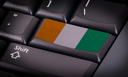 d data: Flag on button keyboard, flag of the Ivory Coast