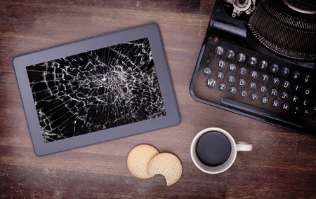 Tablet computer with broken glass, screen destroyed