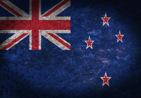 bandera de nueva zelanda: Vieja muestra de metal oxidado con una bandera - Nueva Zelanda Foto de archivo