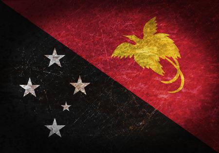 Nuova Guinea: Vecchio segno di metallo arrugginito con una bandiera - Papua Nuova Guinea Archivio Fotografico