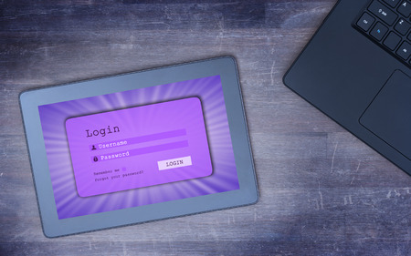 username: Login interface on tablet - username and password, purple, cold blue filter