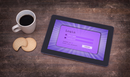 username: Login interface on tablet - username and password, purple