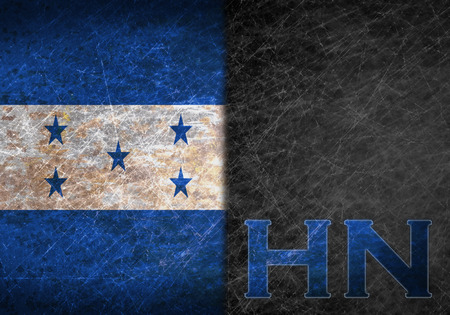 hn: Old rusty metal sign with a flag and country abbreviation - Honduras