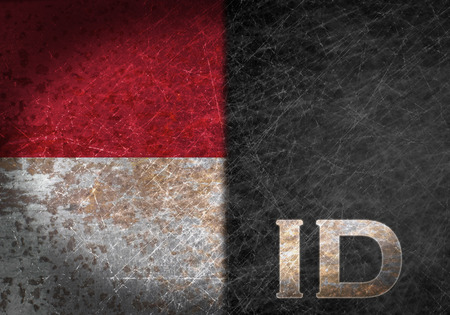 Old rusty metal sign with a flag and country abbreviation - Indonesia