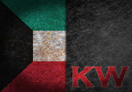 kw: Old rusty metal sign with a flag and country abbreviation - Kuwait Stock Photo