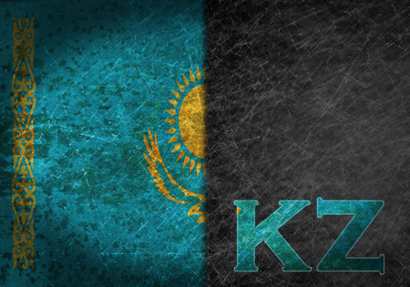 kz: Old rusty metal sign with a flag and country abbreviation - Kazakhstan Stock Photo