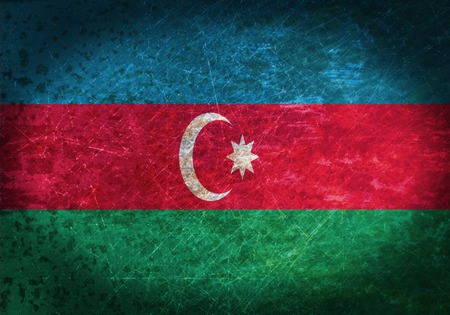 Old rusty metal sign with a flag - Azerbaijan photo