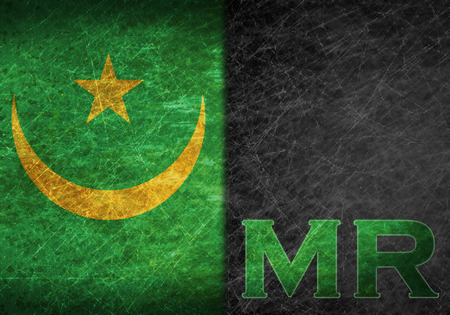abbreviation: Old rusty metal sign with a flag and country abbreviation - Mauritania