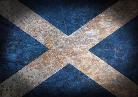 scotish: Old rusty metal sign with a flag - Scotland