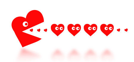 Concept of dating - big Pacman heart hunting small hearts - red photo