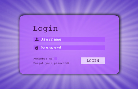 username: Login interface - username and password, starburst background, purple