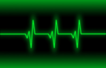 heart ekg trace: Electrocardiogram - Concept of healthcare, heartbeat shown on monitor - green Stock Photo