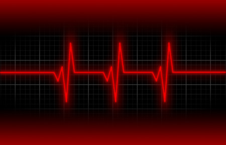 heart ecg trace: Electrocardiogram - Concept of healthcare, heartbeat shown on monitor - red
