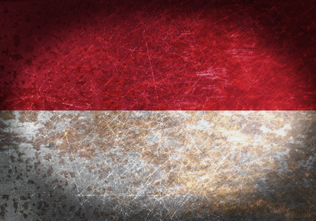 Old rusty metal sign with a flag - Indonesia